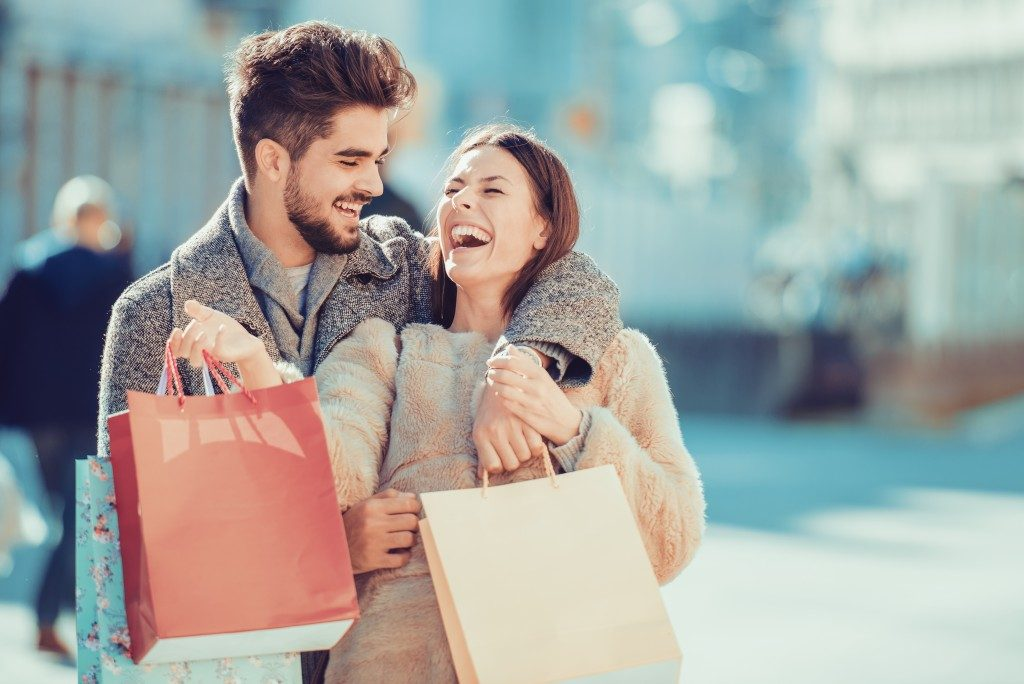 Couple happily shopping