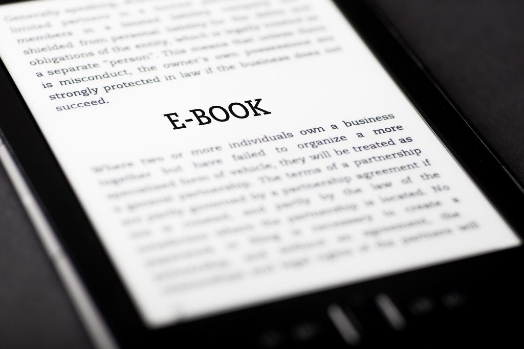 E-book on a tablet