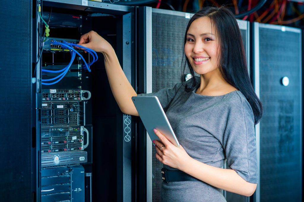 woman fixing the server