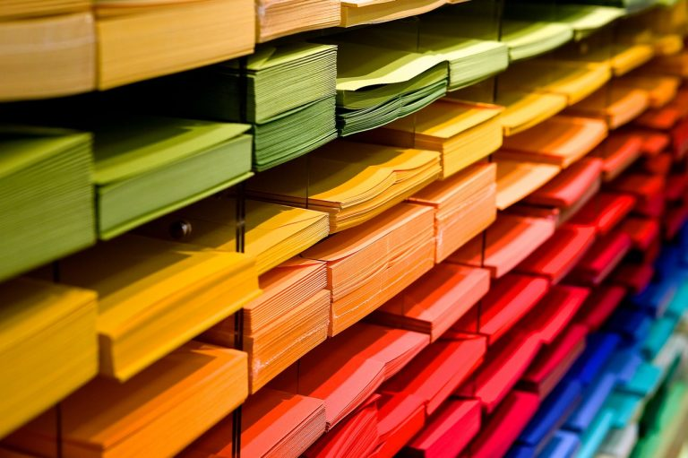 stacks of colored paper