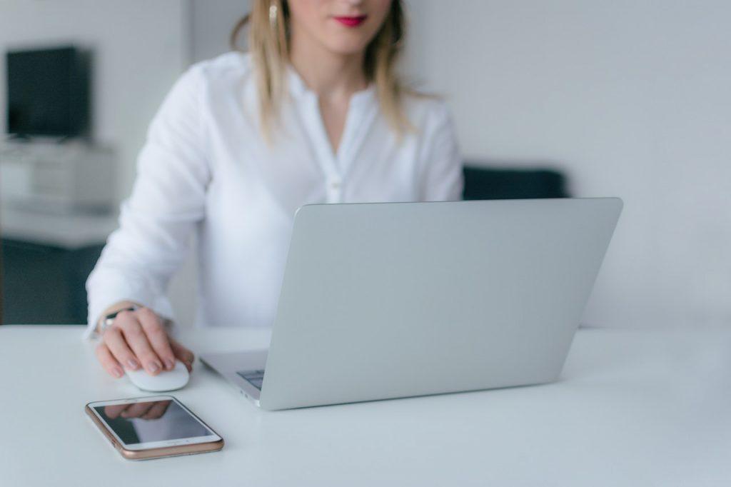 women using her laptop