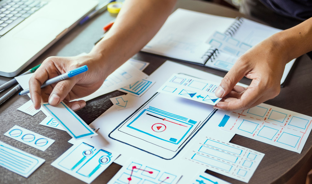 woman designing phone app